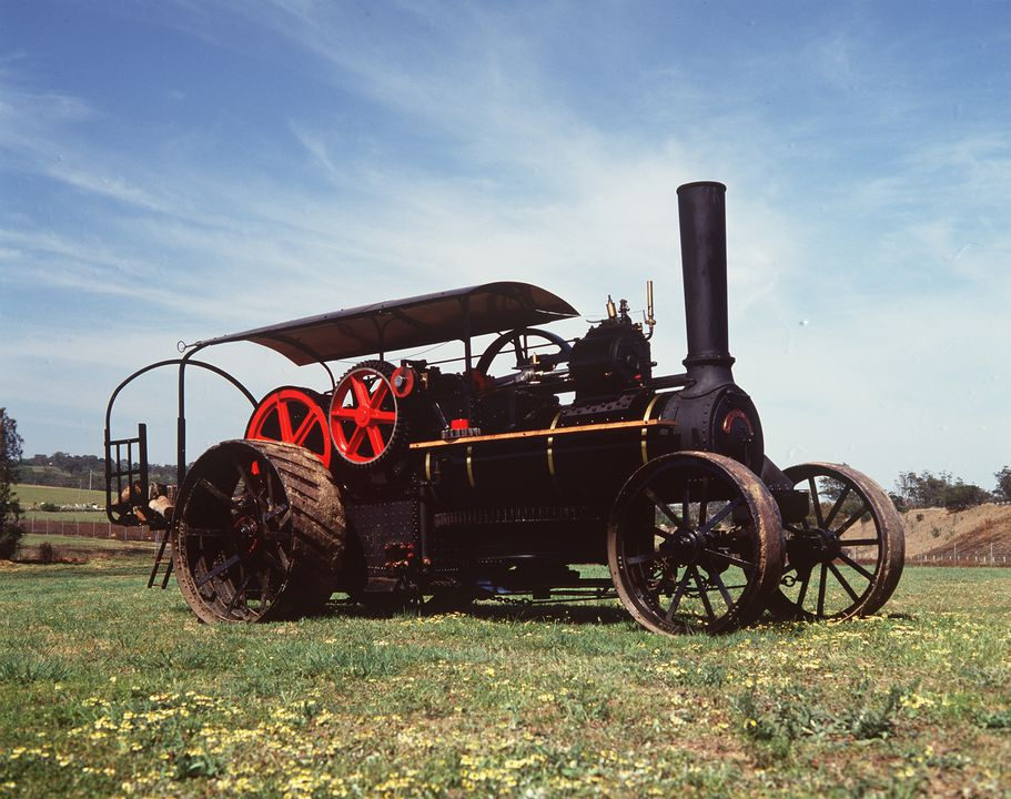 B2265 Fowler steam ploughing engine, No. 5933, 18 nhp, full size, metal / timber, made by John Fowler & Co, Steam Plough Works, Leeds, England, 1889, used by Sir Samuel McCaughey at Yanco, New South Wales, Australia until 1912 and NSW Water Conservation and Irrigation Commission, at Leeton, New Sout. Click to enlarge.