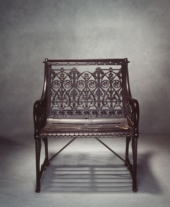 92/1876 Garden chair, cast iron / wood, designed by Dr. Christopher Dresser, made by Coalbrookdale Company, Severn Gorge, Shropshire, England, 1870. Click to enlarge.