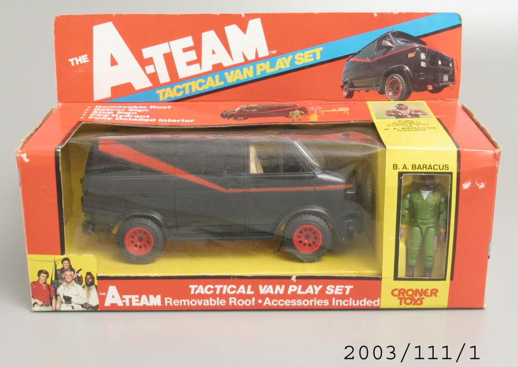 2003/111/1 Toy in packaging, 'The A-Team Tactical Van Play Set', licensed from the television show 'The A-Team', plastic / cardboard / paper, made by Croner Toys, Hong Kong, 1983. Click to enlarge.