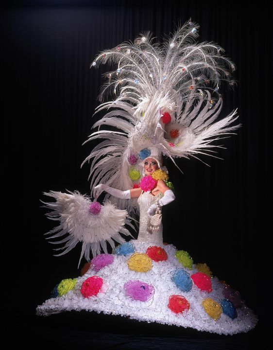 96/305/2 Costume, Gay and Lesbian Mardi Gras, 'Cotton Blossom', mixed media, designed, made and worn by Ron Muncaster, Sydney, New South Wales, Australia, 1994. Click to enlarge.