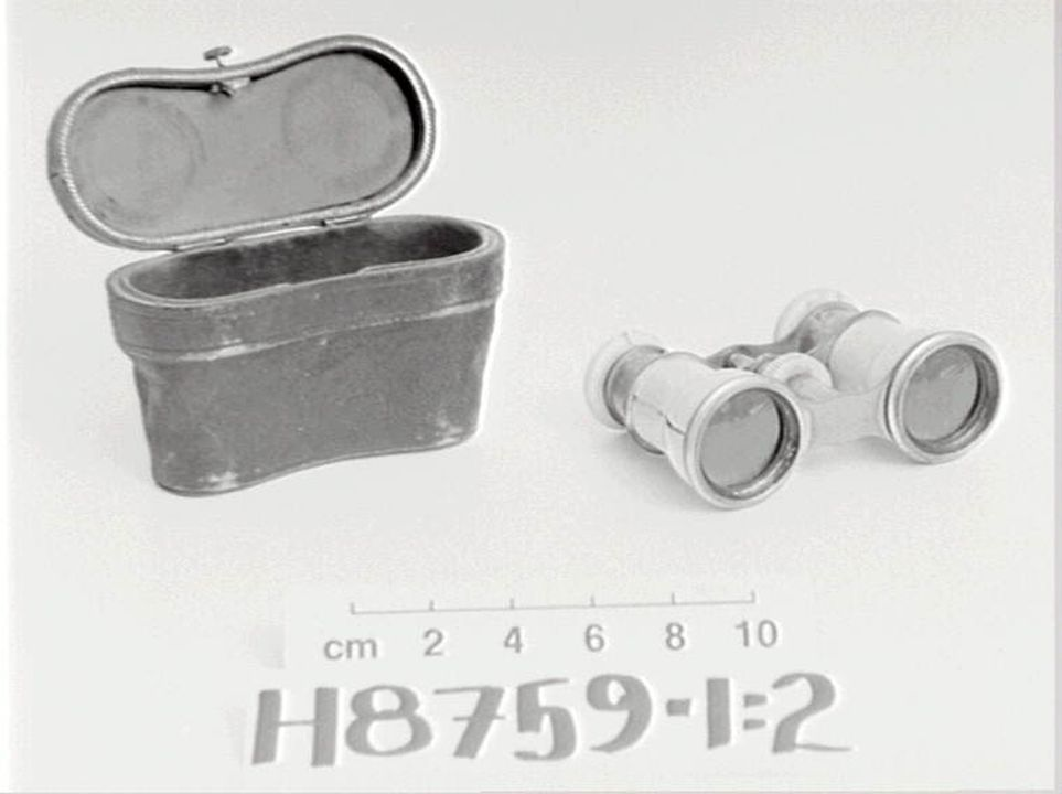 H8759 Opera glasses and case, 'The Universal, Sydney', mother-of-pearl / metal / leather / textiles / wood, maker unidentified, possibly Australia, date unknown. Click to enlarge.