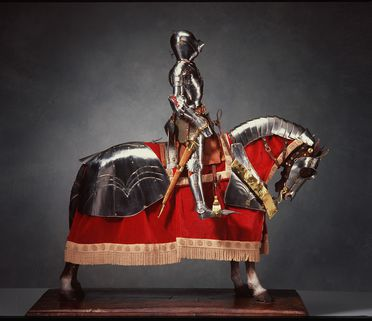 H7652 Miniature knight seated on miniature horse, both in full armour, replica of German 15th century armour, steel / brass / wood / leather / cloth / hair /wire, Paul Hardy, England, c 1890
