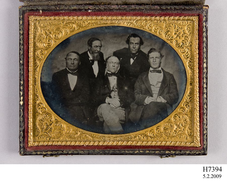 H7394 Photographic positive in case, ambrotype portrait, Charles Cowper, John Robertson, E. C. Weekes, L. H. Bayley, John F. Hargrave, collodion / glass/ wood / paper / metal / velvet, photographer unknown, Sydney, New South Wales, Australia, 1859. Click to enlarge.