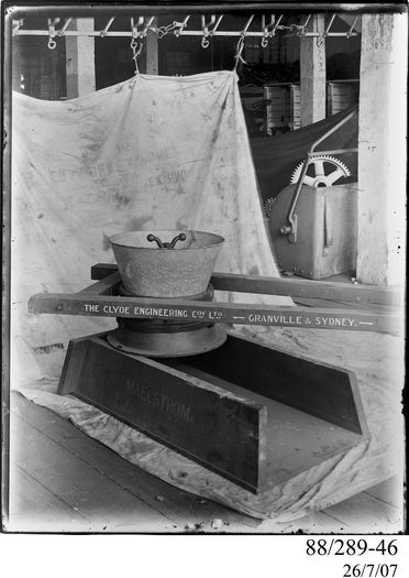 88/289-46 Photographic glass plate negative, 'Maelstrom' horse powered feed grinder, Clyde Engineering Pty Ltd, Australia, 1900-1940
