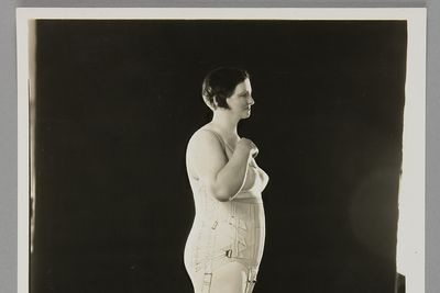 P3645-41/3 Photographic print, black & white, model wearing Berlei corset, Berlei Ltd, Sydney, New South Wales, Australia, c. 1930