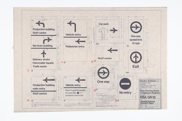 89/735-36/3/15 Dyeline, 'General External Direction Signs', 1:10 scale, dyeline print on paper, designed by Gordon Andrews for the Reserve Bank of Australia's Craigieburn (Melbourne) note printing works, Sydney, New South Wales, Australia, 1981