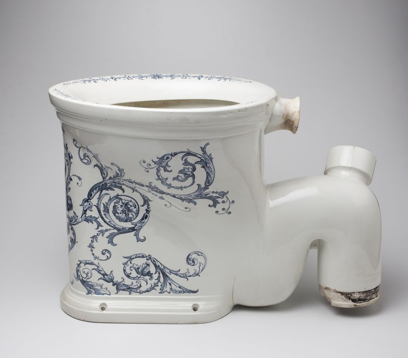 86/1812 Sanitary ware, lavatory bowl, toilet pedestal, 'The Imperial' water closet, with 'Advance Australia' motto, transfer printed porcelain, made by Johnson Bros. (Hanley) Ltd, England, 1880-1910, removed from a house St Kilda, Melbourne, Victoria, Australia, before 1986. Click to enlarge.