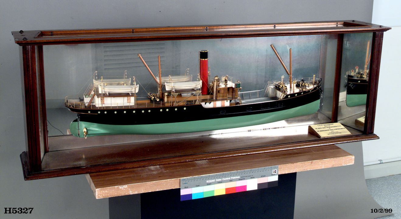 H5327 Half-ship model, TSS 'Maianbar', wood / metal / glass, made by Ardrossan Dry Dock & Shipping Co Ltd, Scotland for the North Coast Steam Navigation Co, New South Wales, Australia, 1910. Click to enlarge.