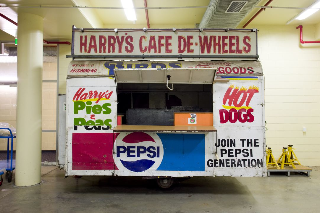 85/302 Caravan, fast food, 'Harry's Cafe de Wheels', metal / timber / vinyl, maker unknown, used by Harry Edwards and Alex Kuronya, Australia, 1945. Click to enlarge.
