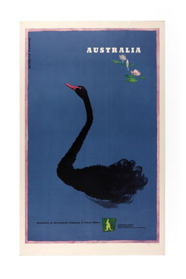 90/58-1/32/1 Poster, 'Australia', colour lithograph on paper, designed by Douglas Annand for the Australian National Travel Association, Sydney, New South Wales, Australia, printed by Litho, McLaren & Co. Pty Ltd, Melbourne, Victoria, Australia, 1954