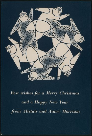 2007/30/1-29/70 Christmas card, Alistair and Aimée Morrison to Dahl and Geoffrey Collings and family designed by Alistair Morrison, paper, Dahl and Geoffrey Collings, Killcare Heights, New South Wales, Australia, 1950s