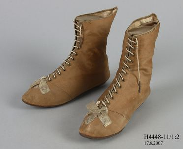 H4448-11 Ankle boots (pair), part of Joseph Box collection, womens, silk / cotton / leather / metal, maker unknown, England, c. 1804