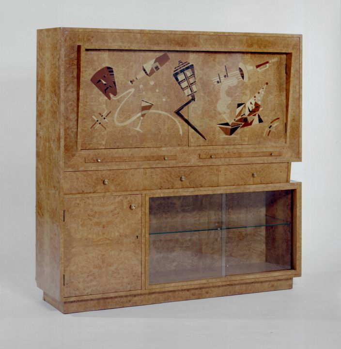 A10559 Cocktail cabinet, Italian burr walnut veneer with cubistic marquetry design / mirror glass / chrome / electric lighting / metal, Paul Kafka, Waterloo, Sydney, New South wales, Australia, c. 1947. Click to enlarge.