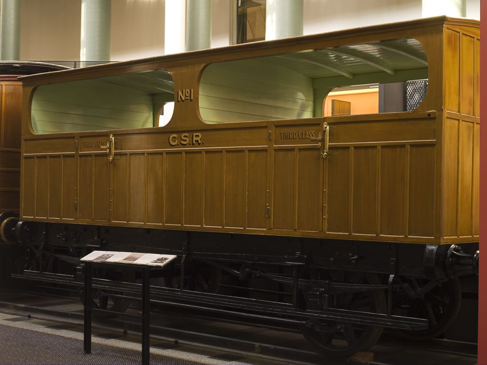 B1614 Railway carriage, third class, originally third class No. 2, later workman's sleeping van WSV6, timber / iron, made by Joseph Wright & Sons of Saltley, Birmingham, England, 1854, used on the first railway in New South Wales between Sydney and Parramatta in 1855. Click to enlarge.