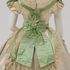 Image 18 of 21, A8684 Wedding dress, made up of bodices (2), skirt, belts (2), rosette, silk / lace / pearls, maker unknown, England, c. 1865. Click to enlarge