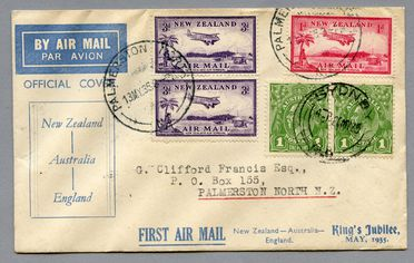 85/112-14 Philatelic cover, King's Jubilee official cover, New Zealand - Australia - England, paper, maker unknown, New Zealand, 1935