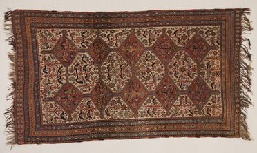 2013/3/2 Rug, knotted pile, wool, woven by Arab Khamseh woman, Fars province, southern Iran (Persia), about 1870