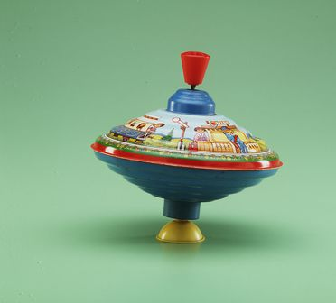 85/2577-187 Toy spinning top, depicts children riding a train, tinplate, West Germany, 1948-1970