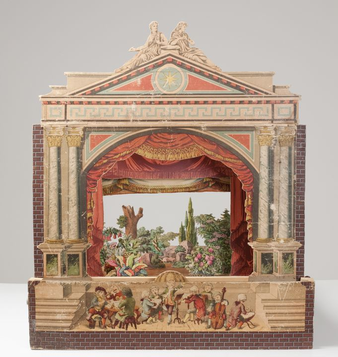 A7746 Children's paper theatre, proscenium arch, sets, scenery, characters and manuscript for Hansel and Gretel, with box, paper / wood, made by Johann Ferdinand Schreiber, Esslingen / Munich, Germany, 1880 -1890. Click to enlarge.