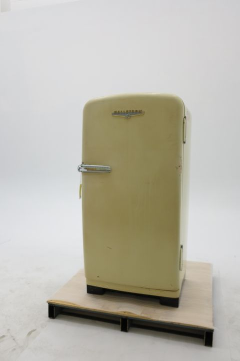 97/17/1 Refrigerator, electric, Hallstrom 'Silent Knight', metal/plastic, made by Hallstrom's Pty Ltd, Willoughby, New South Wales, Australia, 1958. Click to enlarge.
