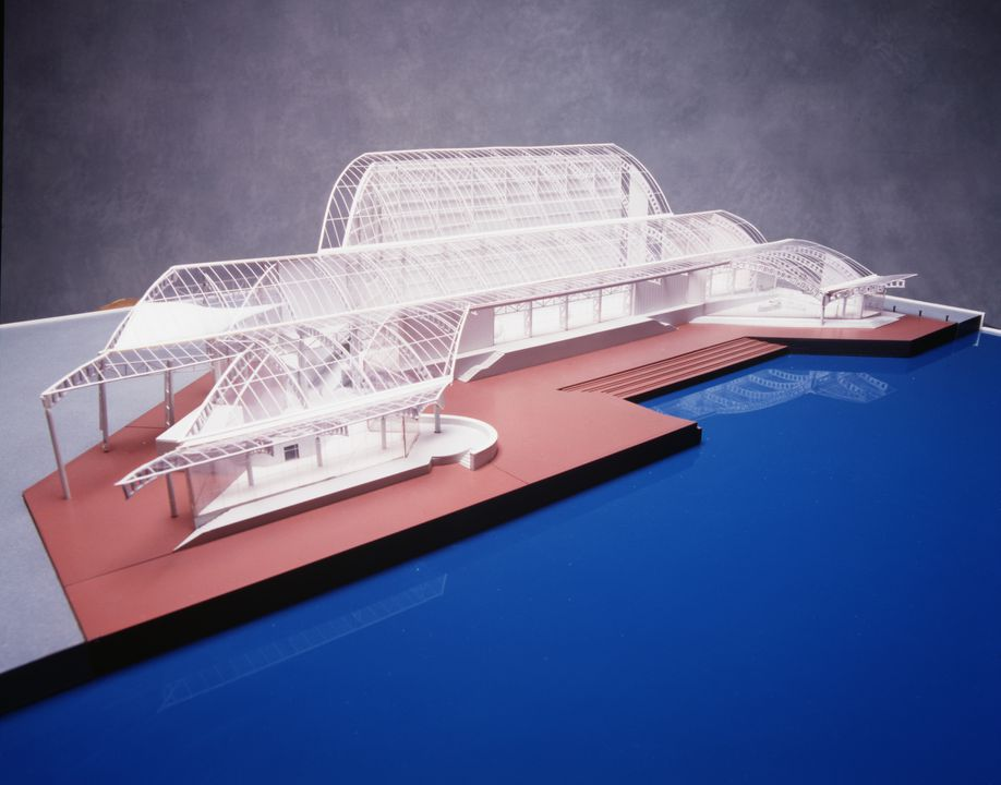 99/36/4 Architectural model, Australian National Maritime Museum, Sydney, plastic / wood / card, Philip Cox / Cox Architects, New South Wales, Australia, [1985-1990]. Click to enlarge.