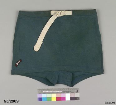 85/2909 Swimsuit, 'Speedo', mens shorts, teal green, wool / cotton, made by MacRae Knitting Mills, Newtown, New South Wales, Australia, worn by B.C. Worbeys, Australia, 1938