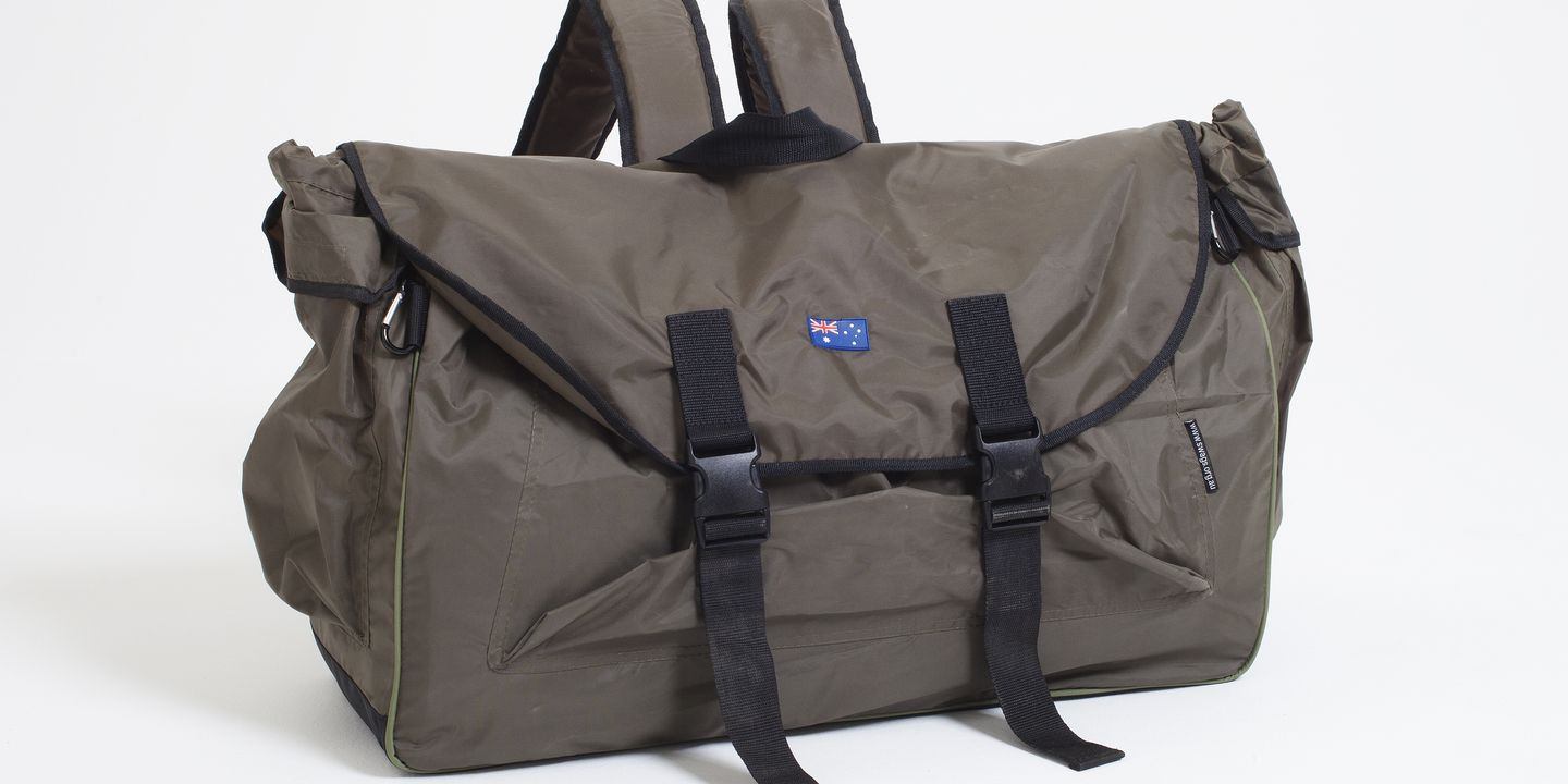 2013/54/1 Backpack bed, nylon / plastic, designed by Swags for Homeless, Australia, made in China, 2011. Click to enlarge.