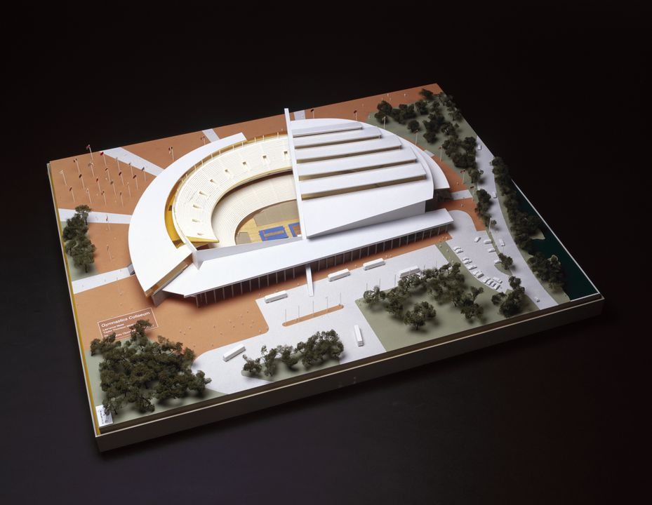 97/123/4 Model, architectural, Gymnastics Coliseum, Lawrence Nield and Taylor Thompson Whitting, for the Sydney Olympics 2000 Bid Ltd, Sydney, 1992.. Click to enlarge.