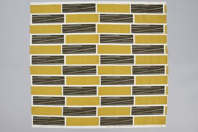 85/2253 Fabric piece, 'Staccato', screenprinted, Frances Burke Fabrics Pty Ltd, Victoria, Australia, 1949
