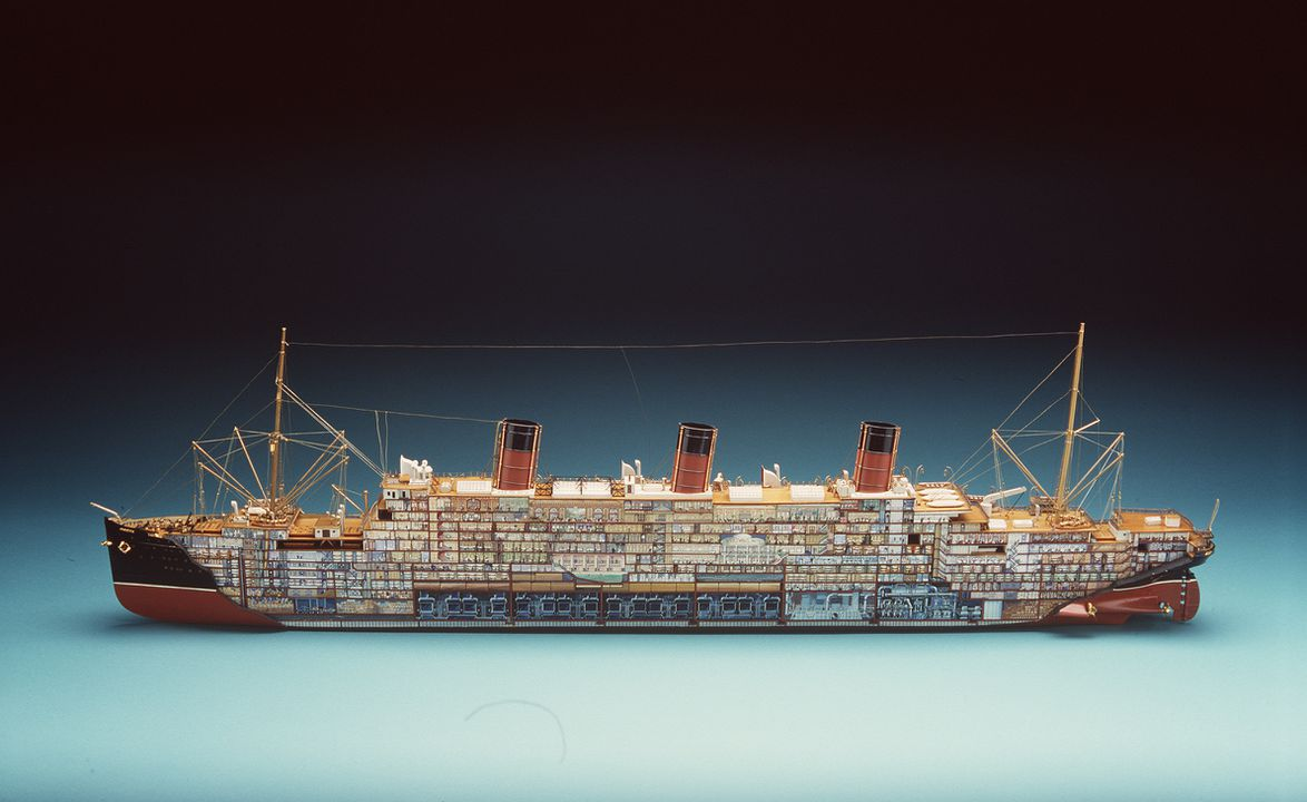 H4142 Sectioned ship model in display case, 'RMS Berengaria', made for the Cunard White Star Line, timber / paper / glass, colour layout made by Montague Black / model maker unknown, c.1921-1938. Click to enlarge.