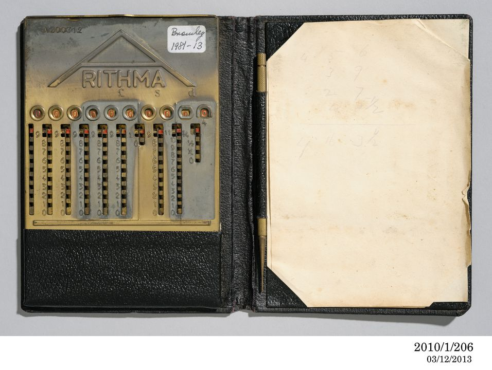 2010/1/206 Mechanical addiator type calculator in case, with stylus and note paper (2), Arithma Adder, metal / leather / paper, made by Addiator Gesellschaft, Berlin, Germany, 1920-1930. Click to enlarge.