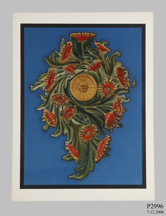 P2996 Design, 'Stenocarpus Scroll', from unpublished book, 'Australian Decorative Arts', watercolour and gouache over pencil, made by Lucien Henry, Australia / France, 1889-1891. Click to enlarge.