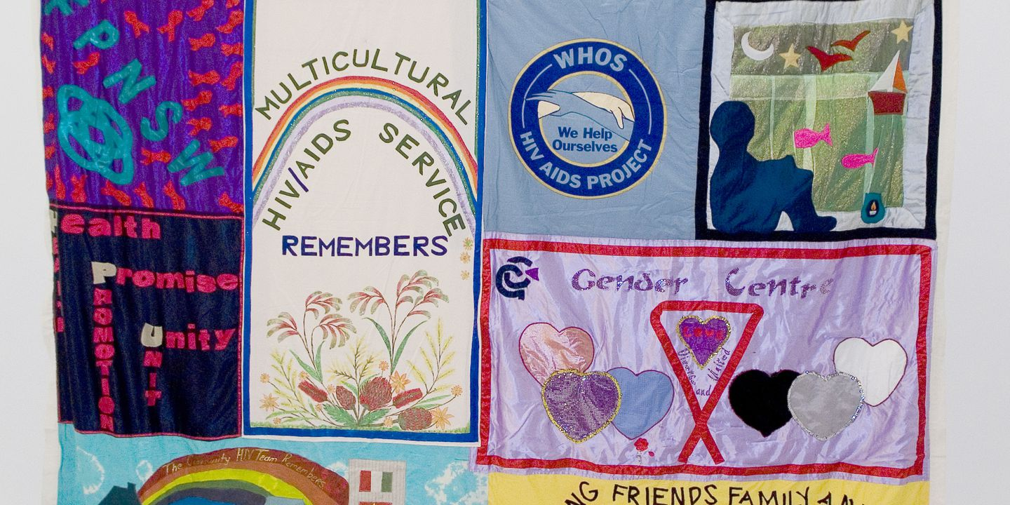 2011/109/74 Quilt, Australian AIDS Memorial Quilt panel, various makers and places of manufacture, Australia, c. 1996. Click to enlarge.