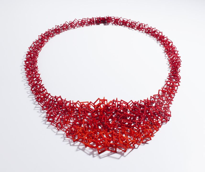 2013/111/2 Necklace, 'Crossbox (4) 2013', 3D printed SLS Nylon, designed and made by Bin Dixon-Ward, Melbourne, Victoria, Australia, printed by Shapeways, Eindhoven, Netherlands, 2013. Click to enlarge.
