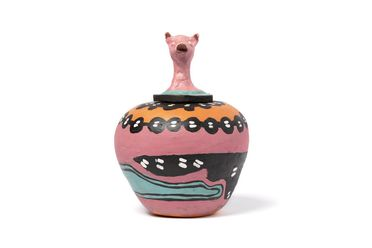 2006/145/2 Covered jar, 'My Pig Is Looking for Food', earthenware, made by Irene Entata, Hermannsburg, Northern Territory, Australia, 1991