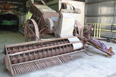 B2400 Header-harvester, ground drive, full size, 'Sunshine', made by H.V. McKay Pty Ltd, Sunshine Harvester Works, Sunshine, Victoria, Australia, 1935, used by the Hyland and Stapleton families of Cudal, New South Wales, Australia,