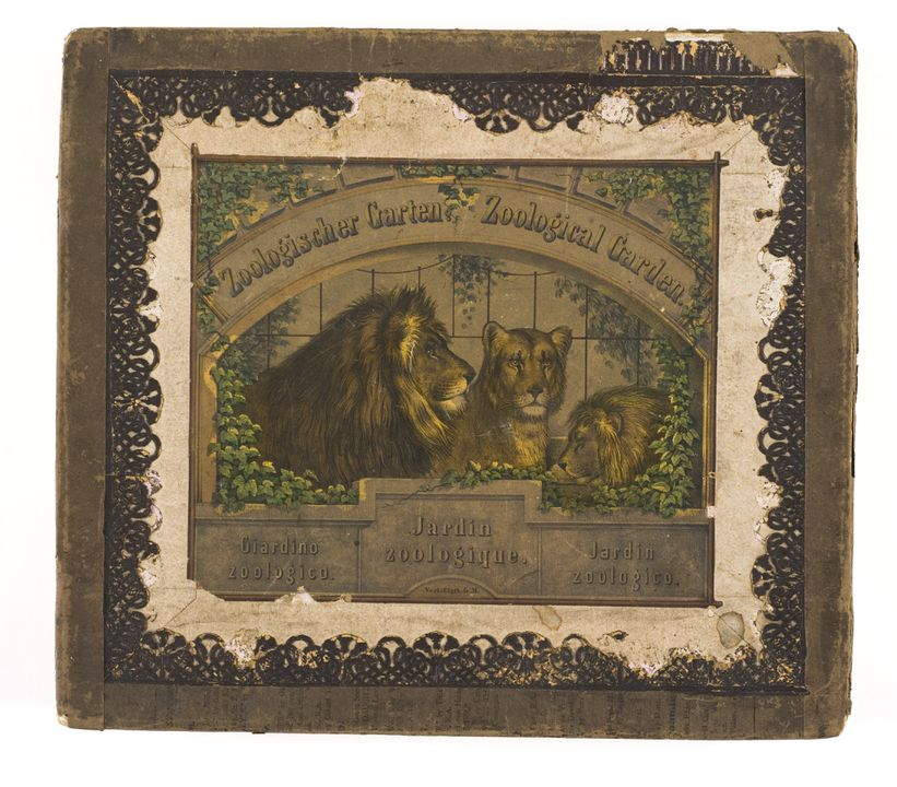 A8964 Toy theatre, 'Zoological Garden', paper / varnish / paint, made in Germany, 1860-1870. Click to enlarge.