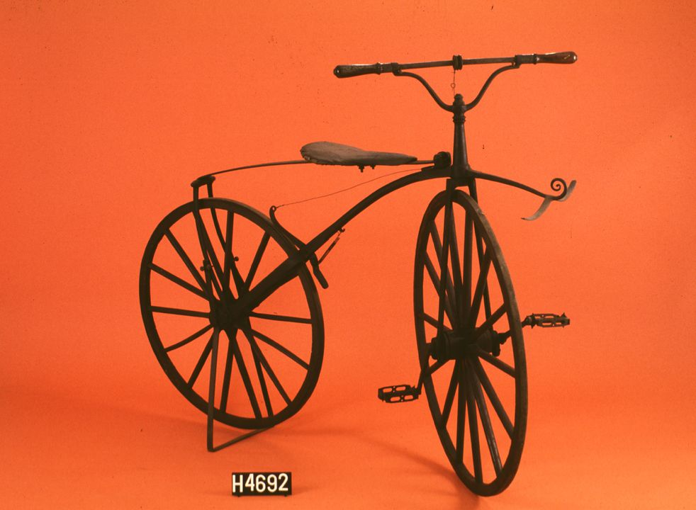 H4692 Bicycle, Velocipede, boneshaker, Michaux-type, metal, maker unknown, c. 1869. Click to enlarge.