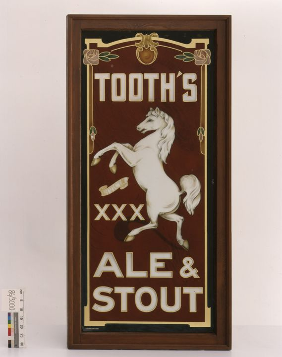 86/3000 Advertising sign, 'Tooth's Ale and Stour', glass / timber frame, maker and date unknown.. Click to enlarge.