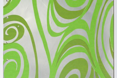 97/322/1-7/148 Wallpaper sample, 'Swirls' from wallpaper sample book, 'Vol 8', paper / ink, Florence Broadhurst Wallpapers Pty Ltd, Paddington, New South Wales, Australia, 1973
