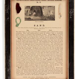 P450 Object lesson card, part of collection, 'Sand', framed, glass / cardboard / wood / paper, published by Oliver and Boyd, Edinburgh, Scotland, 1880-1884