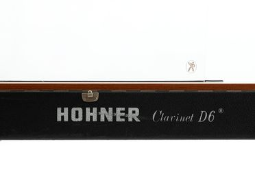 2021/70/8 Keyboard instrument with case, 'Hohner Clavinet D6', timber / metal / textile / plastic, designed by Ernst Zacharias for Hohner, made by the Hohner AG, Germany, 1971