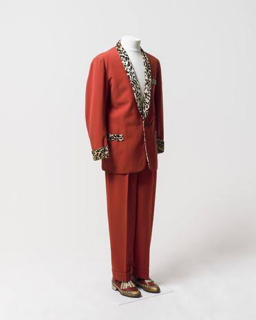 98/32/2 Performance costume, jacket and trousers, wool / rayon / silk / synthetic velvet / metal / plastic, worn by Johnny O'Keefe, probably made by John Portali, Leichhardt, New South Wales, Australia, 1957-1958