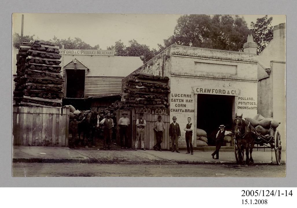 2005/124/1-14 Photograph, part of collection owned by James Short, black and white, Goondiwindi men in front of Crawford & Co, paper, photographer unknown, Goondiwindi, Queensland, Australia, 1922. Click to enlarge.