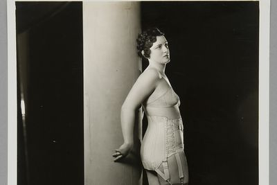 P3645-41/8 Photographic print, black & white, model wearing Berlei girdle and brassiere, Berlei Ltd, Sydney, New South Wales, Australia, c. 1930