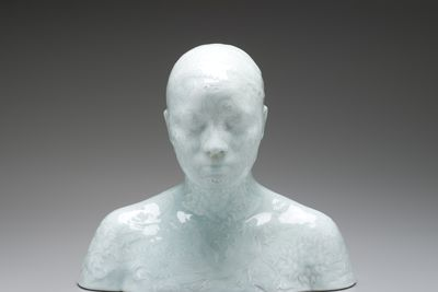 2008/35/1 Sculpture, 'Bust 39', 'China, China' series, porcelain body-cast with yingqing glaze, made by Ah Xian (LIU Jixian), China, 1999