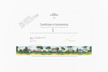 2005/229/1-5 Certificate of authenticity, 'The Artist Cup Collection', cardboard, 'South Coast Beach Cottages' decal designed by Reg Mombassa, Sydney, New South Wales, Australia, 1999, made by Manfredi Enterprises, Sydney, New South Wales, Australia, 2004