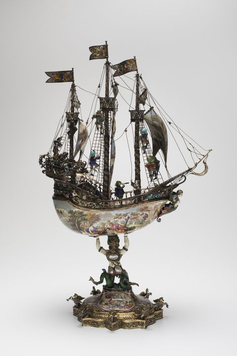 A6070 Nef (ship-shaped table centrepiece),  copper / silver / gilt / enamels / blister pearls, Karl Bender, Vienna, Austria, c 1874-1892. Click to enlarge.