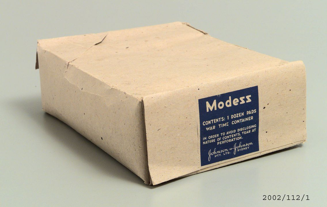 Sanitary pads, box of 12, 'Modess', paper and textile