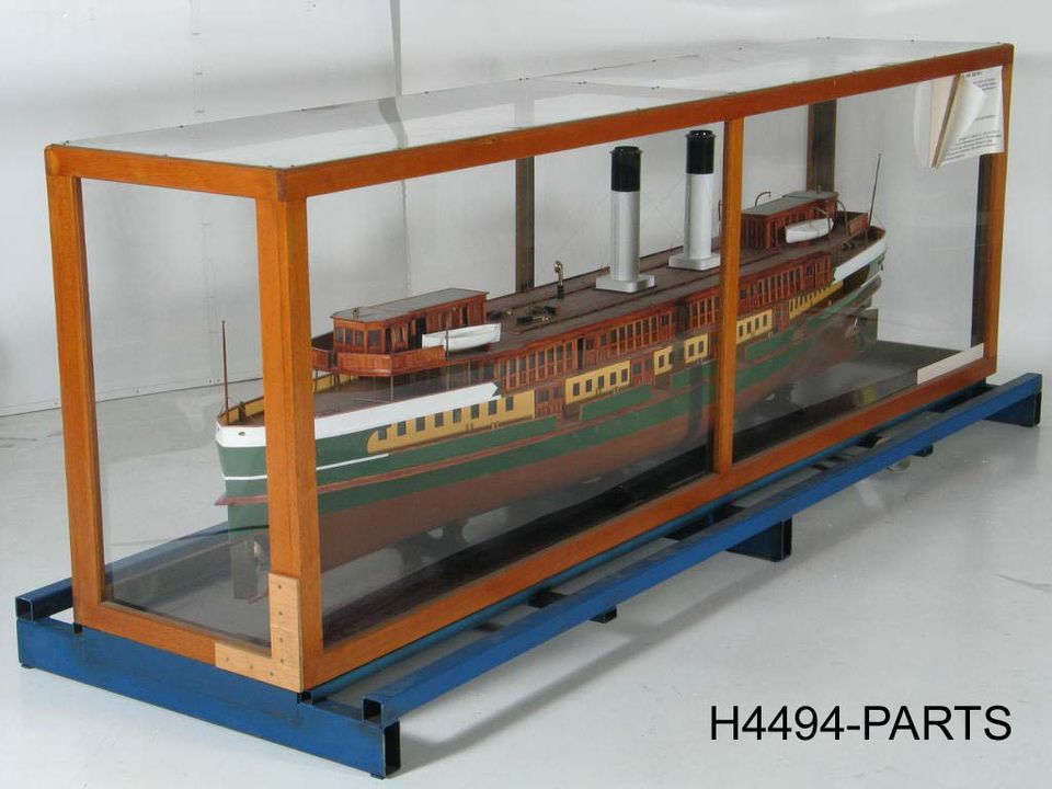 """H4494 Ship model in case, of 1928 Manly steam ferry """"Dee Why"""" operated by Port Jackson & Manly Steamship Co, Sydney, New South Wales, Australia, 1:24 scale, timber, model made by Lieut-Cmdr Geoffrey Chapman Ingleton, RAN, Sydney, New South Wales, Australia, 1937-1938, commissioned for Australian Ses. Click to enlarge."""